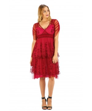 Zoey Vintage Style Party Dress in Raspberry by Nataya