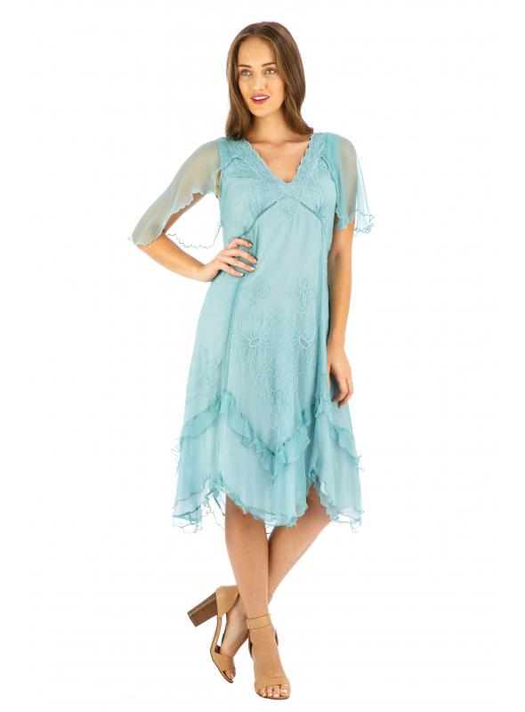 Age of Love Jacqueline AL-241 Vintage Style Party Dress in Turquoise by Nataya