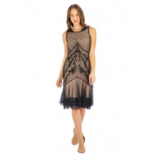 Tatianna Vintage Style Party Dress in Onyx by Nataya