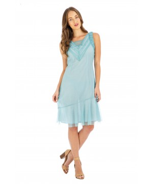 Stella Vintage Style Party Dress in Turquoise by Nataya