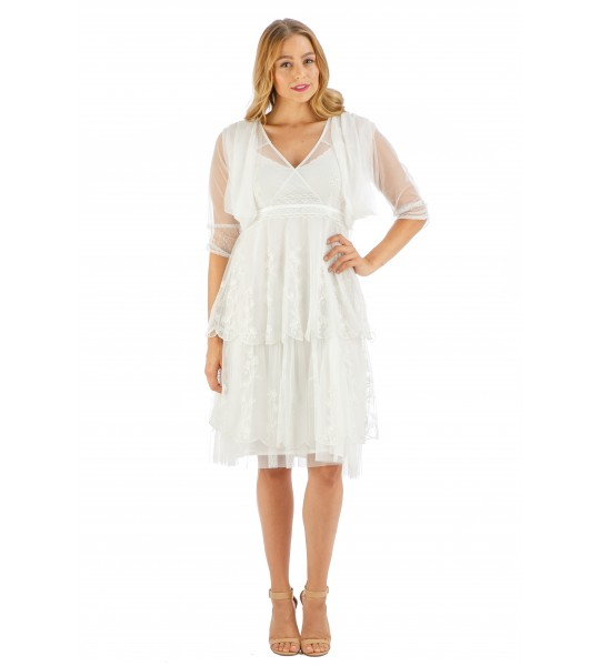 Age of Love Elise AL-432 Vintage Style Party Dress in Ivory by Nataya