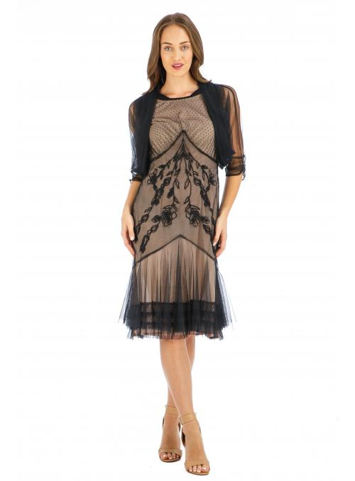 Age of Love Elise AL-432 Vintage Style Party Dress in Onyx by Nataya