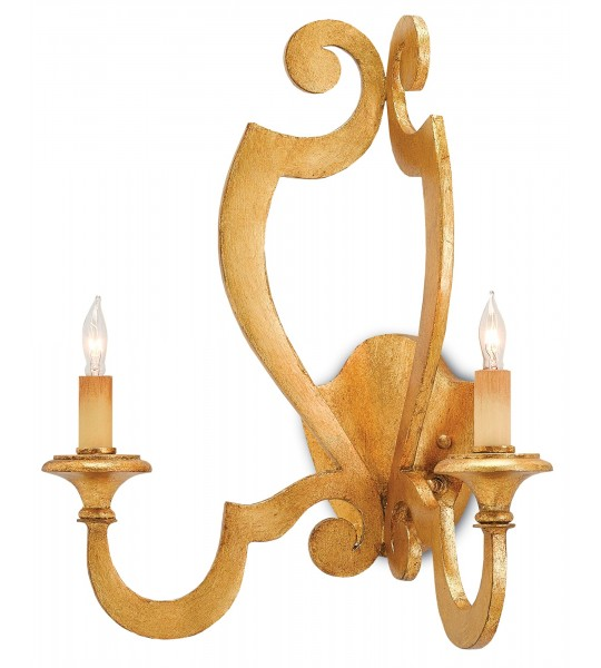 Retrospect Gold Wall Sconce by Currey and Company