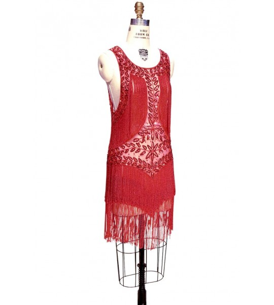 Roaring Twenties Cocktail Party Dress in Ruby/Red by The Deco Haus