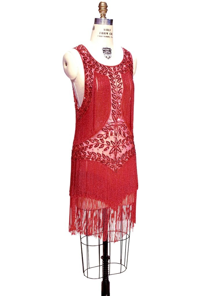 Roaring Twenties Cocktail Party Dress in Ruby/Red