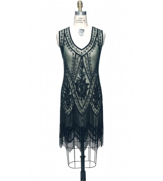 1920s Style Fringe Party Dress in Bottle Green by The Deco Haus