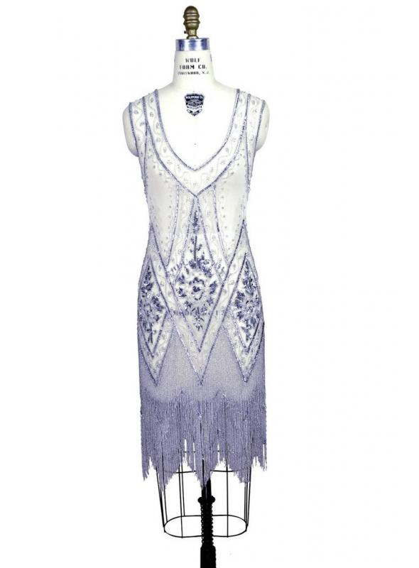 1920s Style Fringe Party Dress in Silver/White by The Deco Haus
