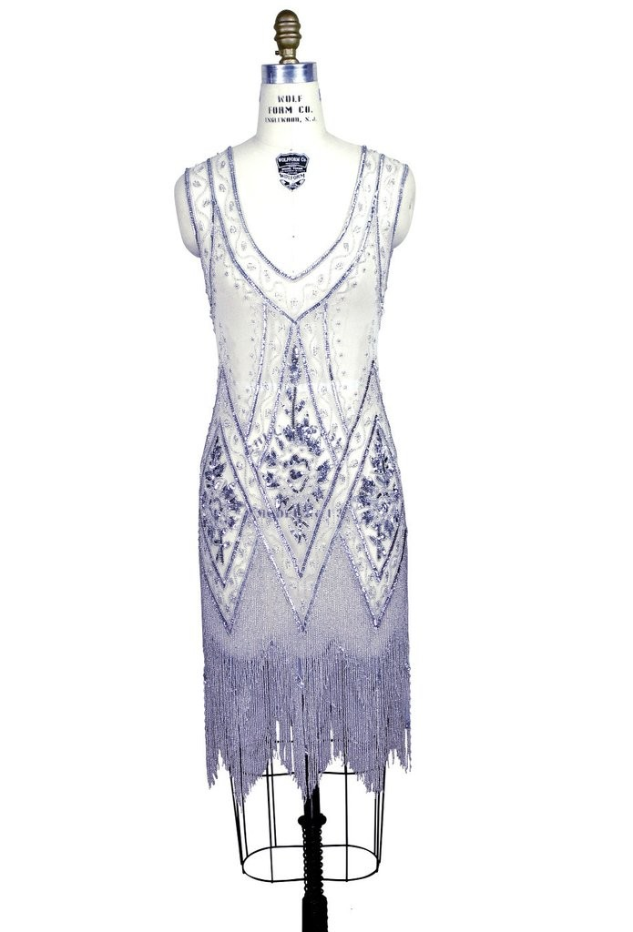 1920s Style Fringe Party Dress in Silver/White