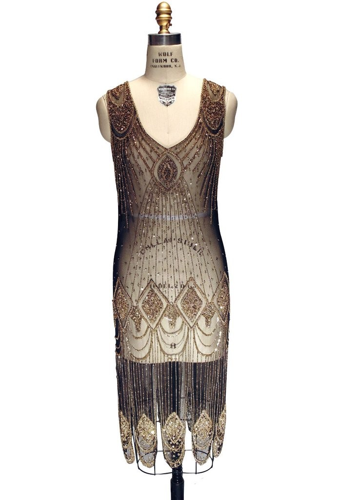 Great Gatsby Cocktail Dress Gold Black By The Deco Haus