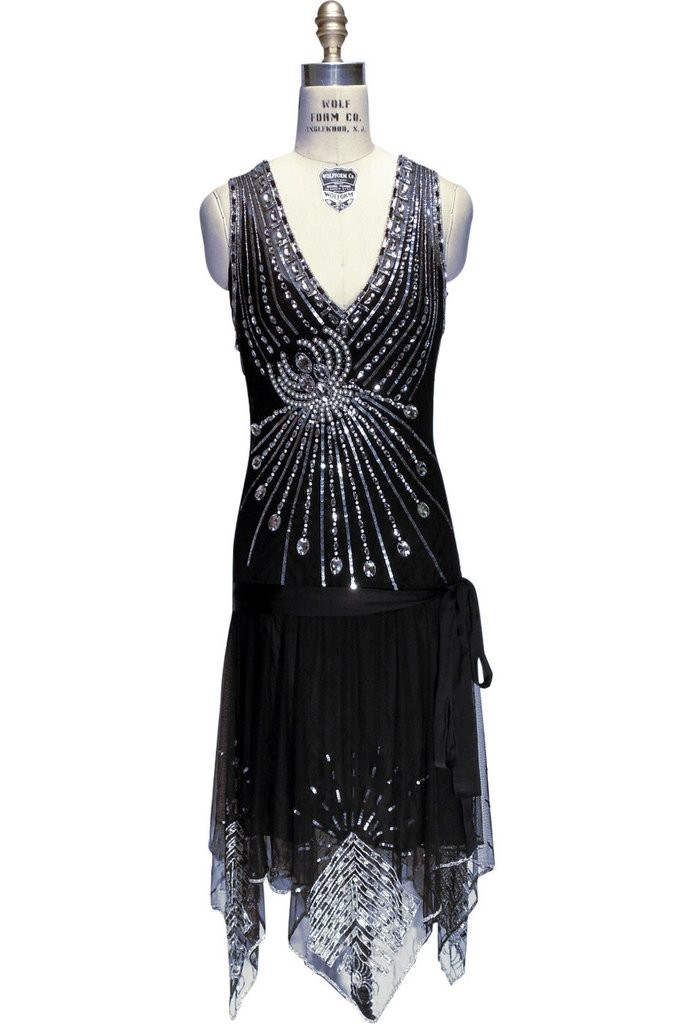 Art Deco Crystal Party Dress in Black Jet