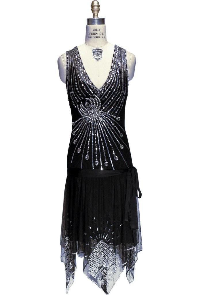 Art Deco Crystal Party Dress in Black Jet