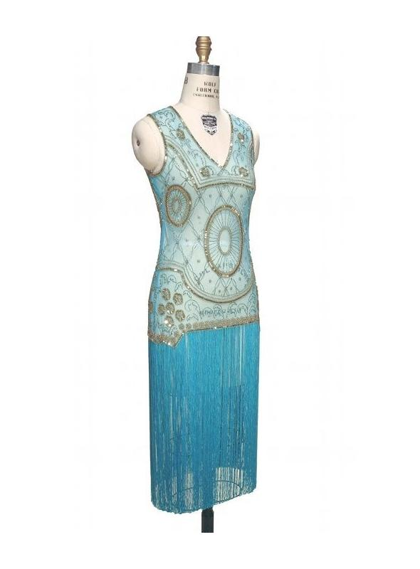 Old Hollywood Glamour Dress in Gold/Turquoise by The Deco Haus