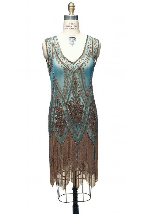 1920s Style Fringe Party Dress in Gold/Turquoise