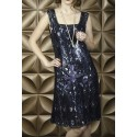 Vintage Inspired Art Deco Dress in Midnight - SOLD OUT