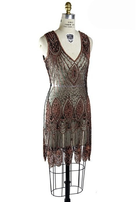 Great Gatsby Cocktail Dress in Copper/Jet
