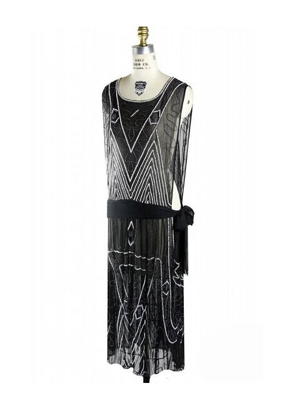 1920s Inspired Art Deco Dress in Kohl by The Deco Haus