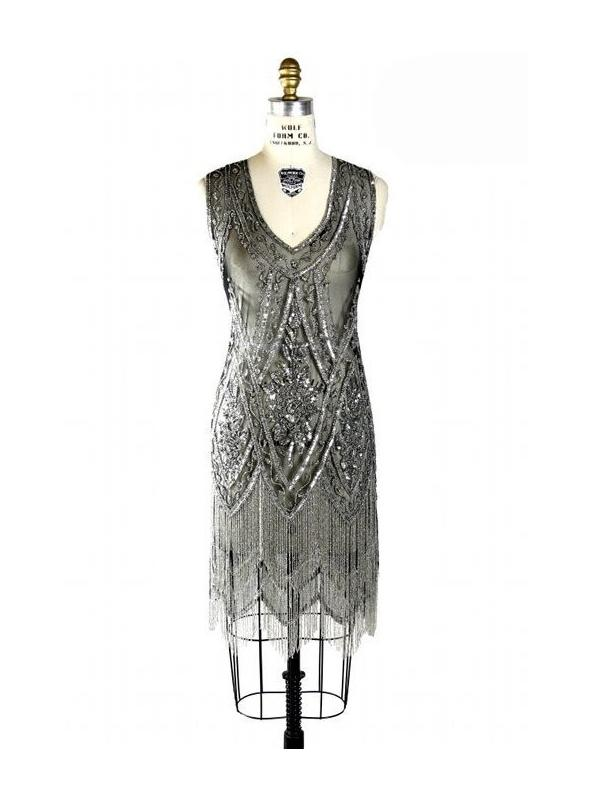 1920s Style Fringe Party Dress in Silver/Jet by The Deco Haus