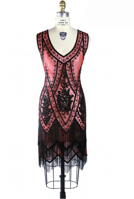 1920s Style Fringe Party Dress in Jet/Ruby