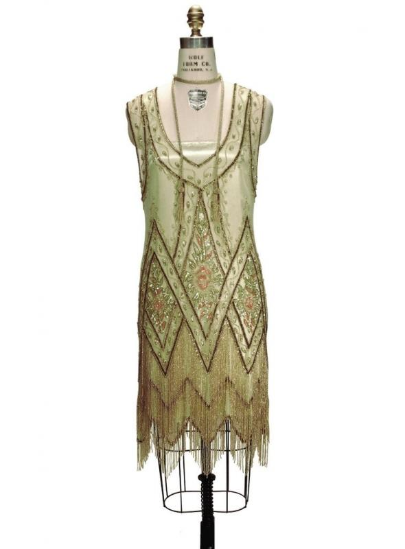 1920s Style Fringe Party Dress in Absinthe Gold by The Deco Haus
