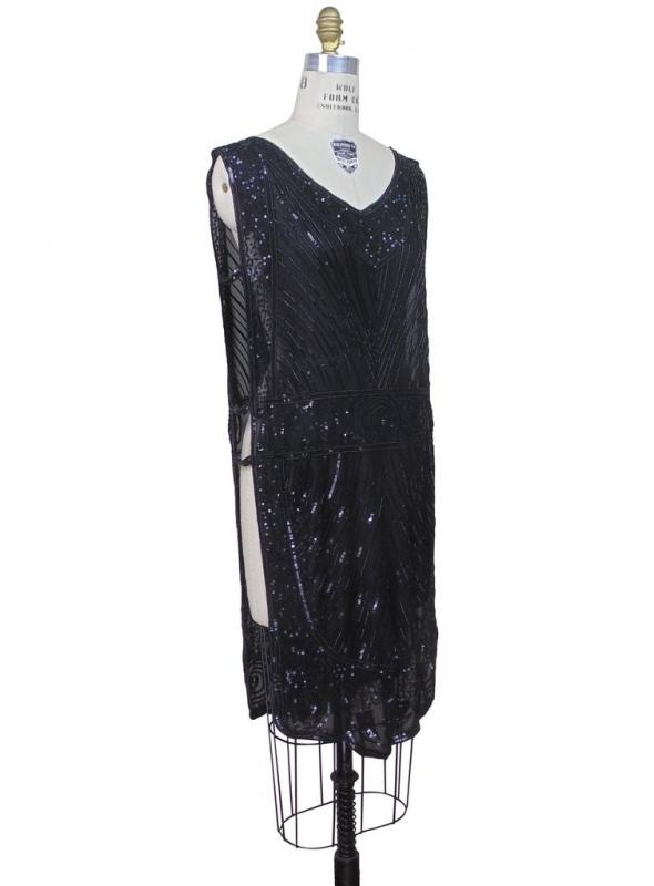Great Gatsby Style Tabard Dress in Black Silk by The Deco Haus