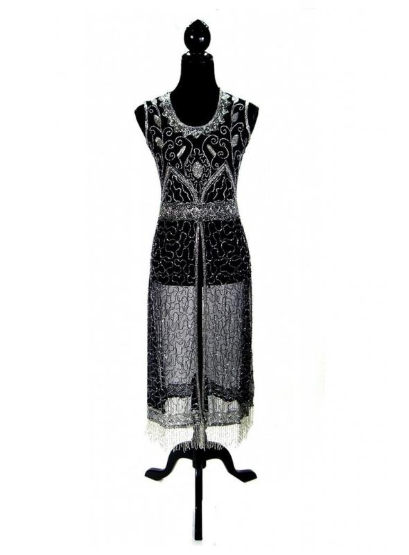 Titanic Vintage Inspired Gown in Silver/Black by The Deco Haus
