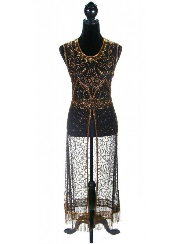 Titanic Vintage Inspired Gown in Copper/Black by The Deco Haus