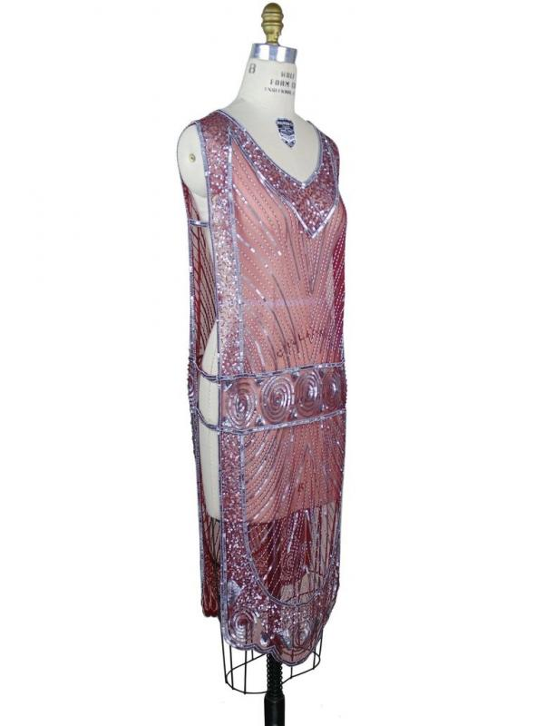Great Gatsby Style Tabard Dress in Silver/Black Cherry by The Deco Haus