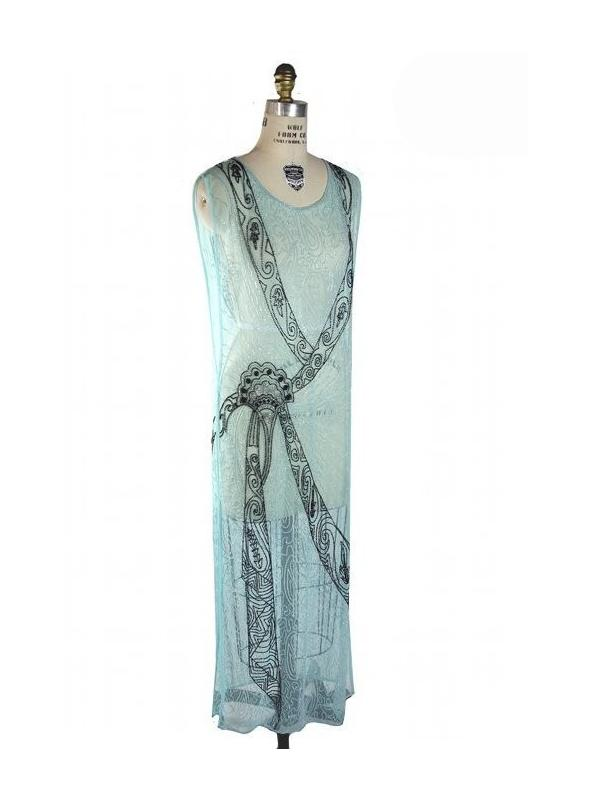 Flapper Style Elegant Party Dress in Aqua by The Deco Haus