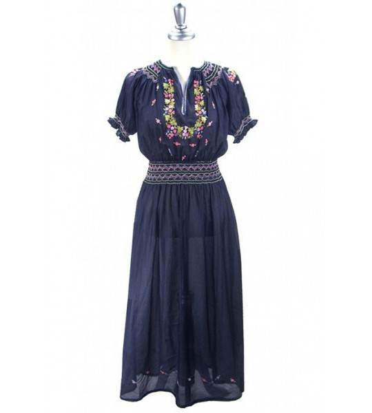 1920s Style Embroidered Maxi Dress in Ink Blue by The Deco Haus