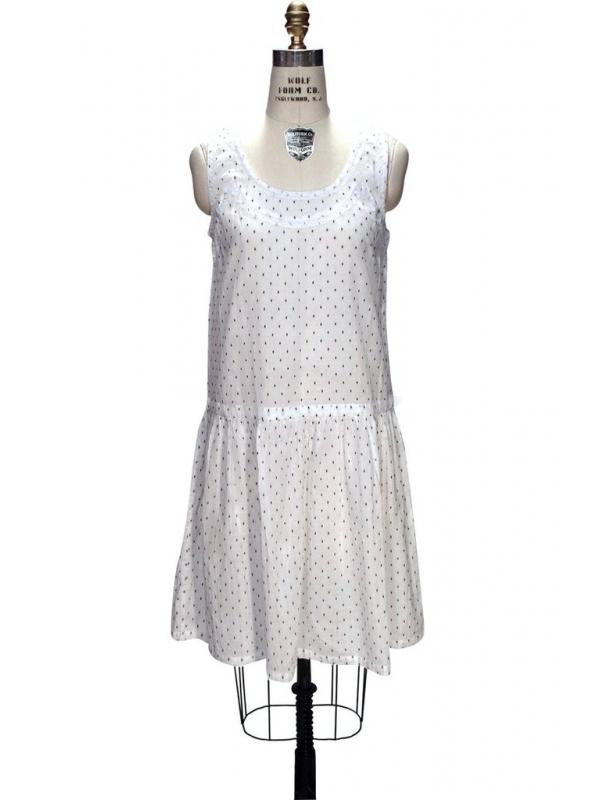 1930s Style Deco Black Dots White Dress by The Deco haus