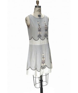 1920s Vintage Style Embroidered Dress in Blue Gauze by The Deco Haus