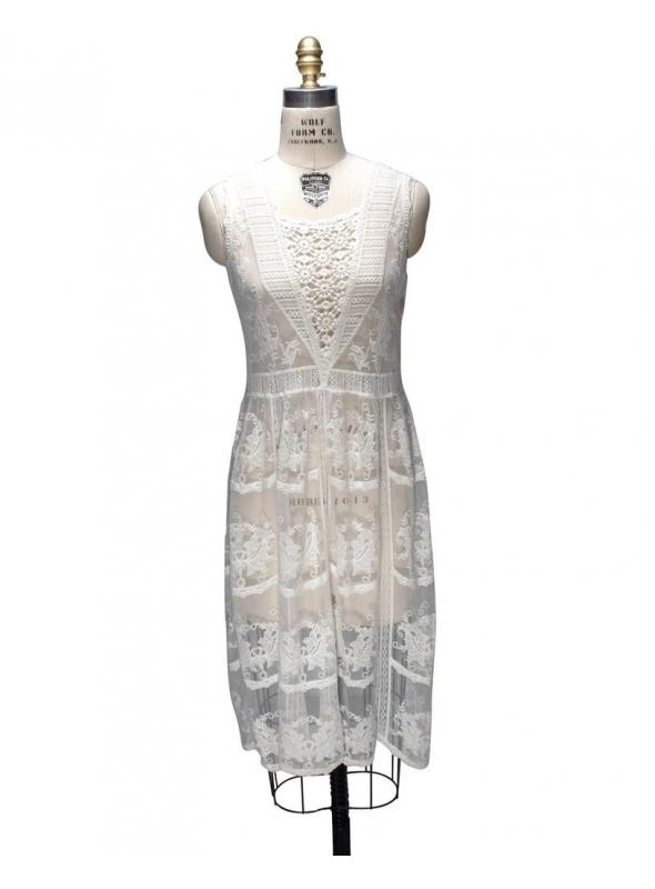 1920s Inspired Multi Lace Overlay Bridal Dress by The Deco Haus
