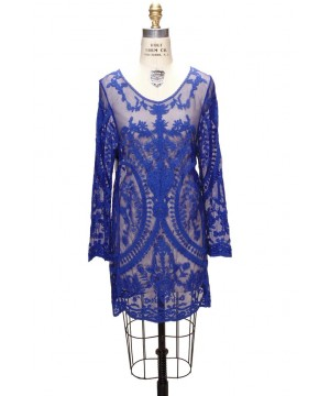 Vintage Style Lace Tunic Dress in Cobalt Blue by The Deco Haus