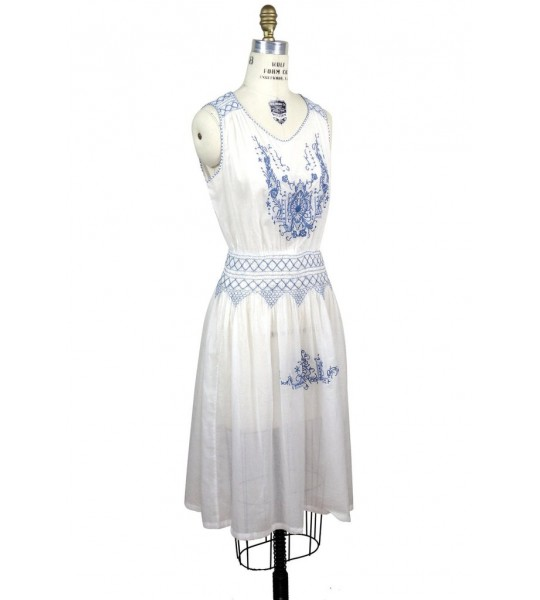 1920s Inspired Romantic Embroidered Dress in French Blue/White by The Deco Haus