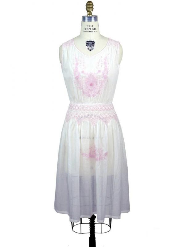 1920s Inspired Romantic Embroidered Dress in Pink/White by The Deco Haus