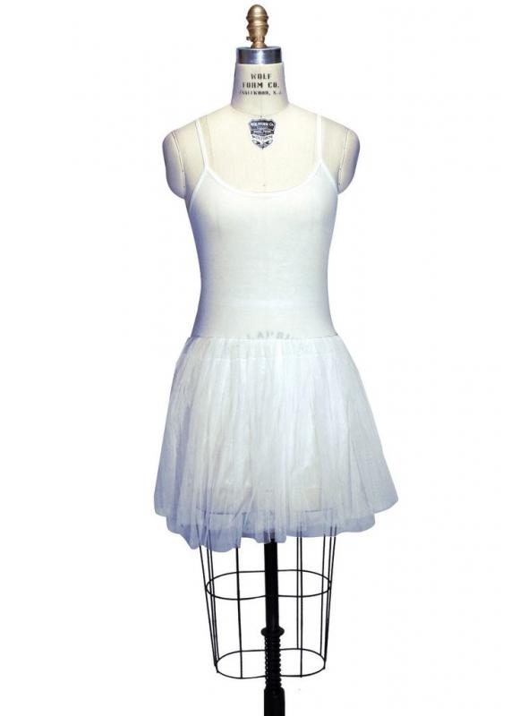 1920s Inspired Tulle Ballerina Slip Dress in Ivory by The Haus