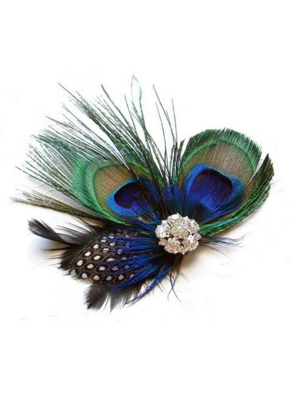 Flapper Style Peacock Rhinestone Fascinator by The Deco Haus