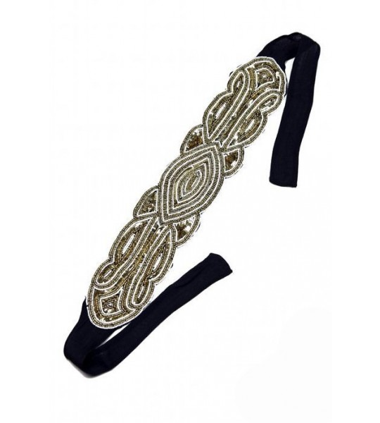 Great Gatsby Bandeau Style Headband in Gold/Black by The Deco Haus