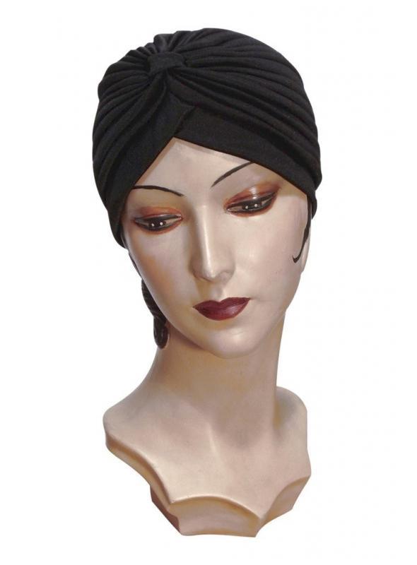 Roaring Twenties Evening Turban in Black by The Deco Haus