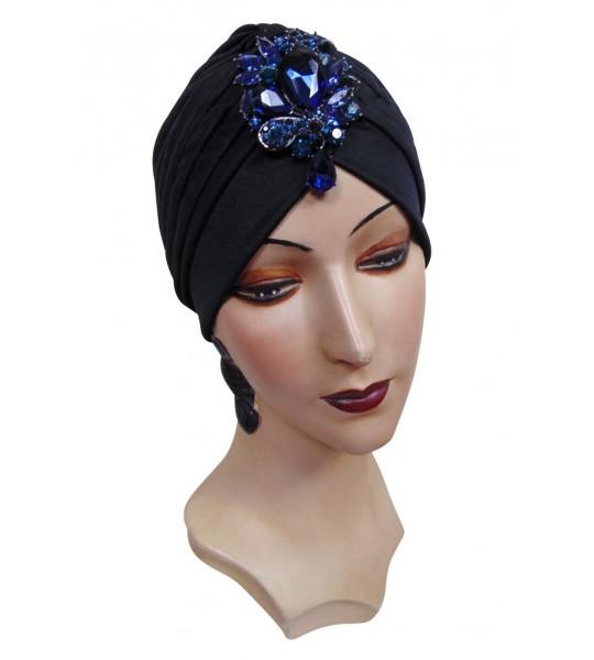 Roaring Twenties Evening Turban with Black Jet Teardrop by The Deco Haus