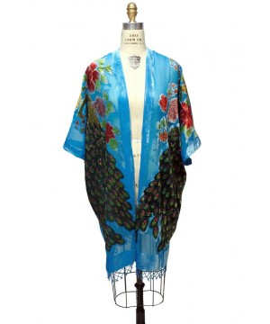 Art Deco Peacock Velvet Evening Wrap in Turquoise/Blue by The Deco Haus