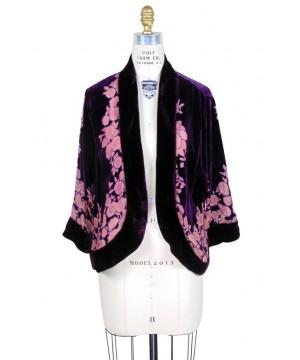 The Art Deco Bolero Smoking Jacket in Amethyst/Floral