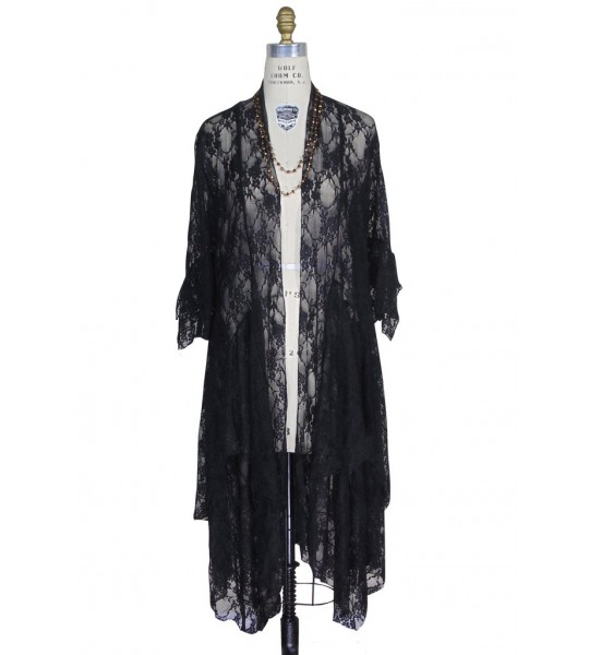 Flapper Style Lace Overlay Robe in Blacky The Deco Haus