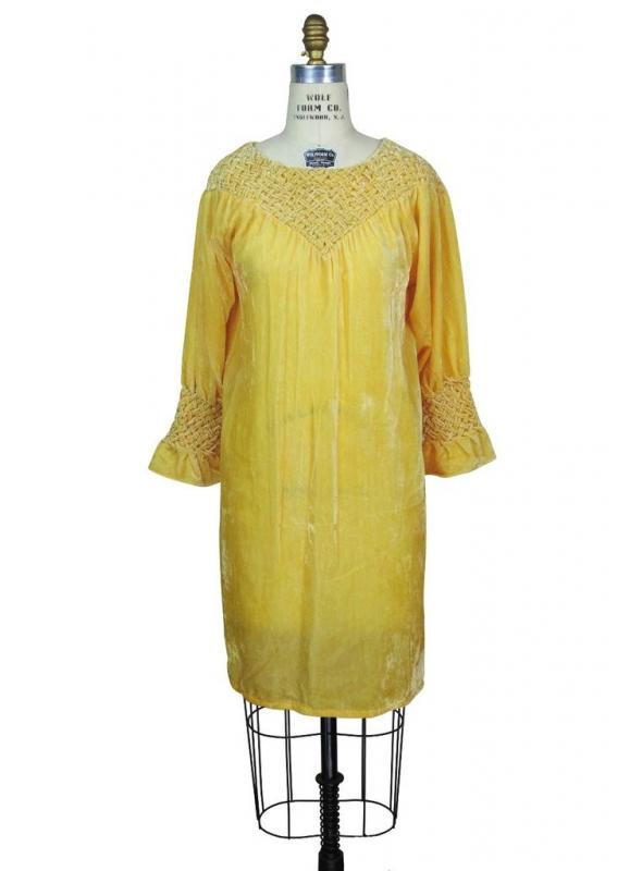 Flapper Style Velvet Smocked Tunic in Butterscotch bhe Deco Haus