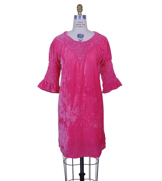 Flapper Style Velvet Smocked Tunic in Electric Pink by The Deco Haus