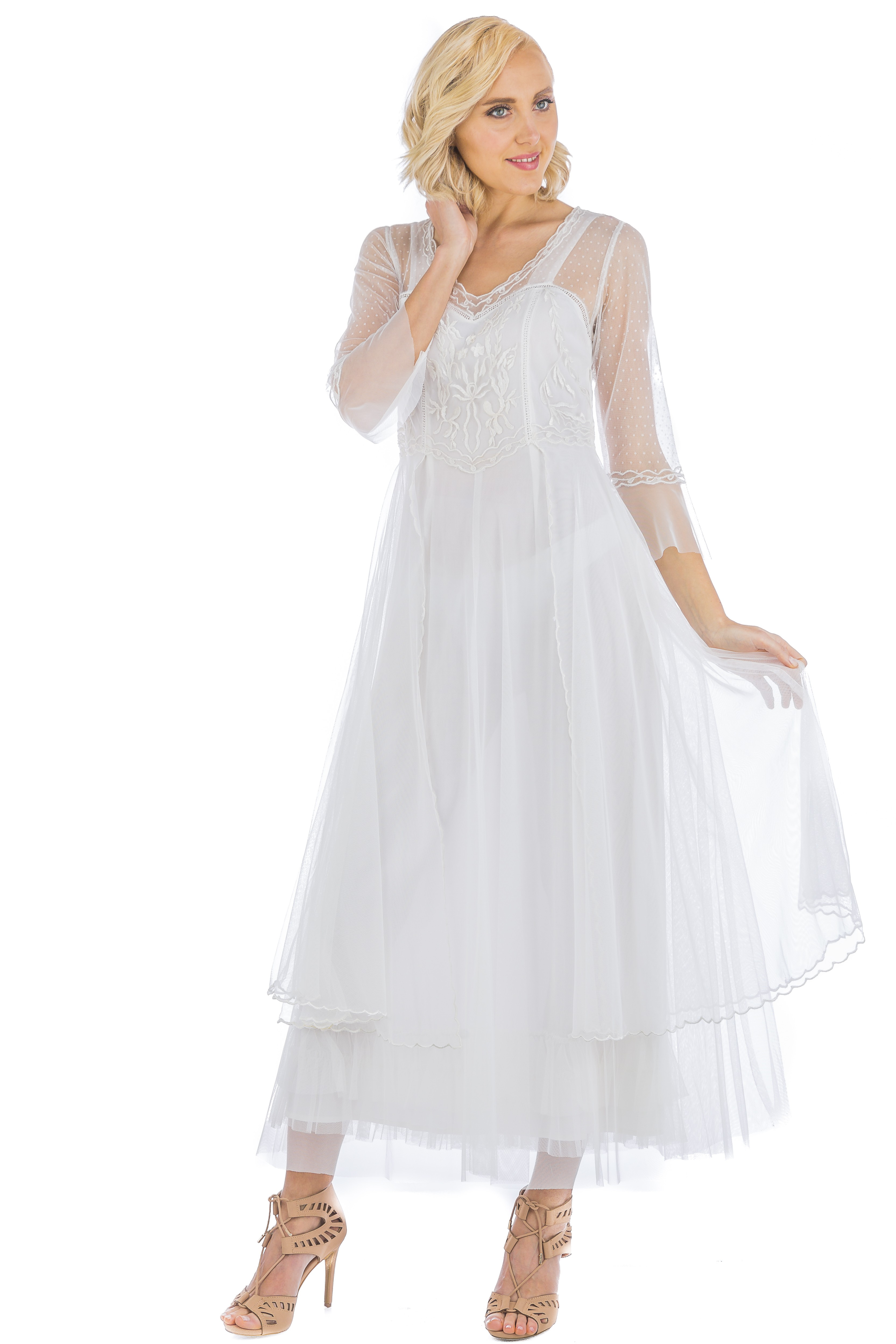 Vivian CL-075 Vintage Style Wedding Gown in Ivory by Nataya