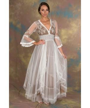 Bohemian Pompadour Dress in Ivory/Beige by Nataya