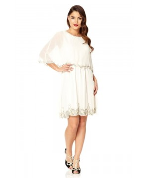 Flapper Style Cape Dress in Off White