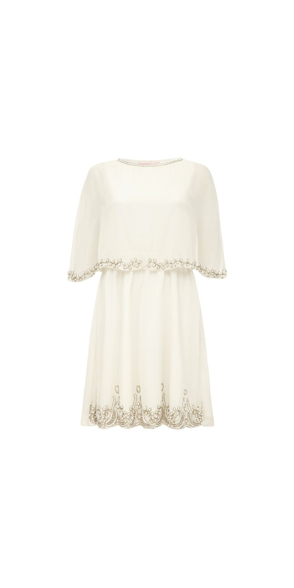 6651623671 Flapper Style Cape Dress in Off White