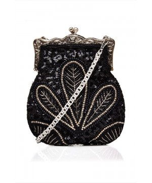 1920s Vintage Hand Beaded Purse In Black